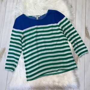 J Crew Colorblock Stripe 3/4 Sleeve Top